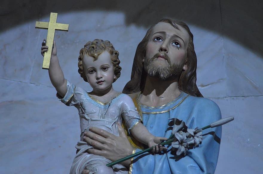 statue-child-father-joseph-jesus-cross-lys-flower-figure
